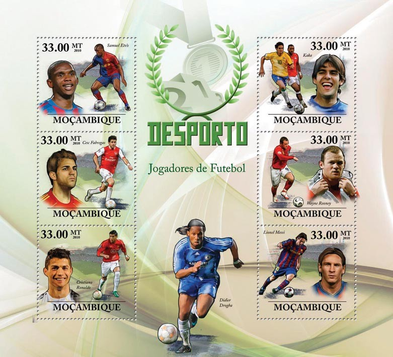 Football Players - Issue of Mozambique postage Stamps