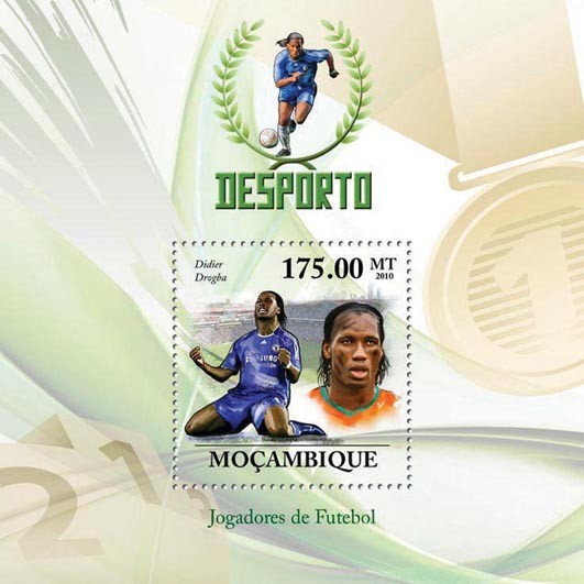 Football Players, ( Didier Drogba ). - Issue of Mozambique postage Stamps