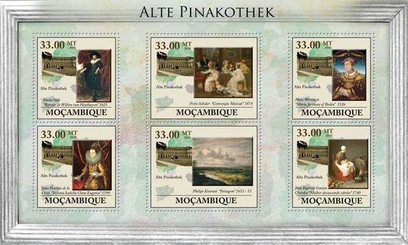 Art Museum of Munich - Issue of Mozambique postage Stamps