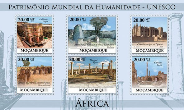World Heritage Site   UNESCO Africa I (Lalibela. Ethiopia ?タᆭ Cartago. Tunisia). - Issue of Mozambique postage Stamps