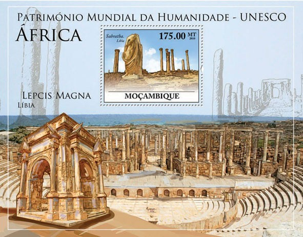 World Heritage Site  UNESCO Africa I (Sabratha Libia). - Issue of Mozambique postage Stamps