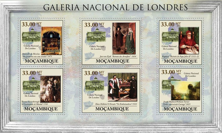 National Gallery of London, (Paintings). - Issue of Mozambique postage Stamps