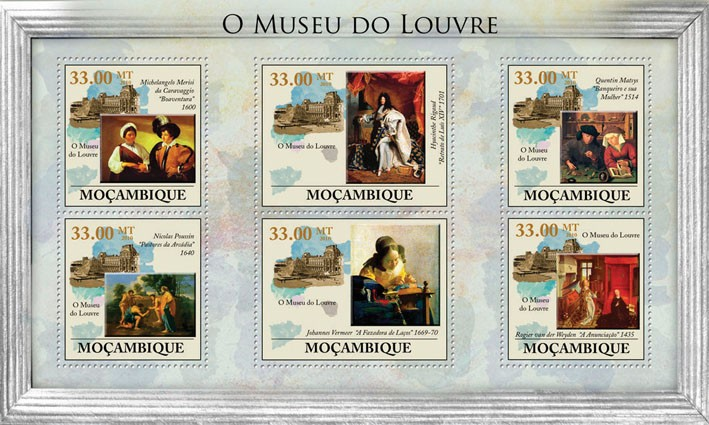 The Louvre Museum, (Paintings). - Issue of Mozambique postage Stamps
