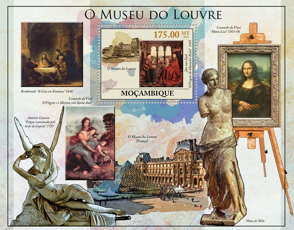 The Louvre Museum, (Paintings, Statues). - Issue of Mozambique postage Stamps