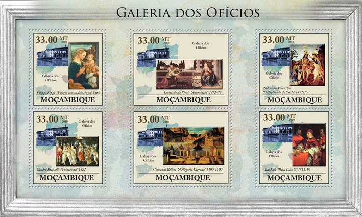 Uffizi Gallery, (Paintings). - Issue of Mozambique postage Stamps