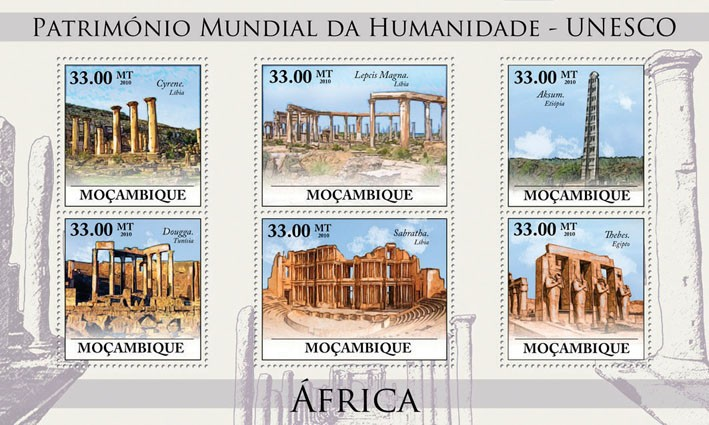 World Heritage Site - UNESCO Africa III, (Cyrene, Libia - Issue of Mozambique postage Stamps