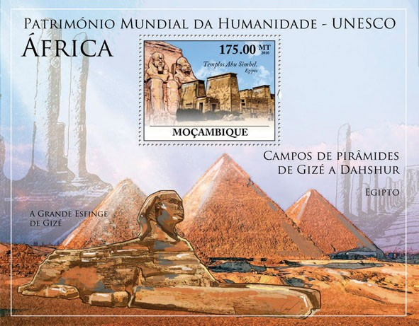 World Heritage Site - UNESCO Africa III, (Temple of Abu Simbel, Egypt). - Issue of Mozambique postage Stamps