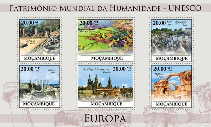 World Heritage Site - UNESCO Europe III, (Olympia, Greece - Issue of Mozambique postage Stamps