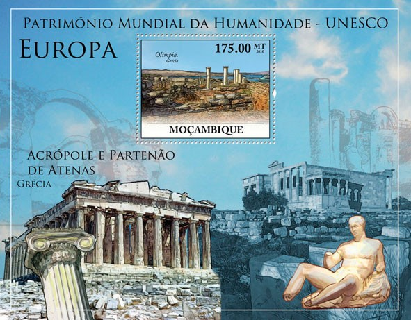 World Heritage Site - UNESCO Europe III, (Olympia, Greece). - Issue of Mozambique postage Stamps