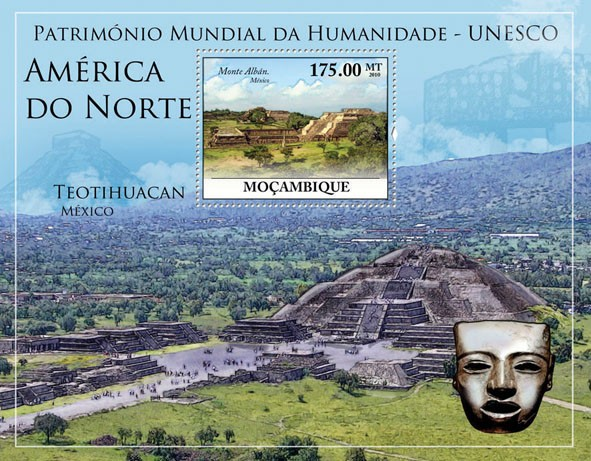 World Heritage Site - UNESCO North America I, (Monte Alban, Mexico). - Issue of Mozambique postage Stamps