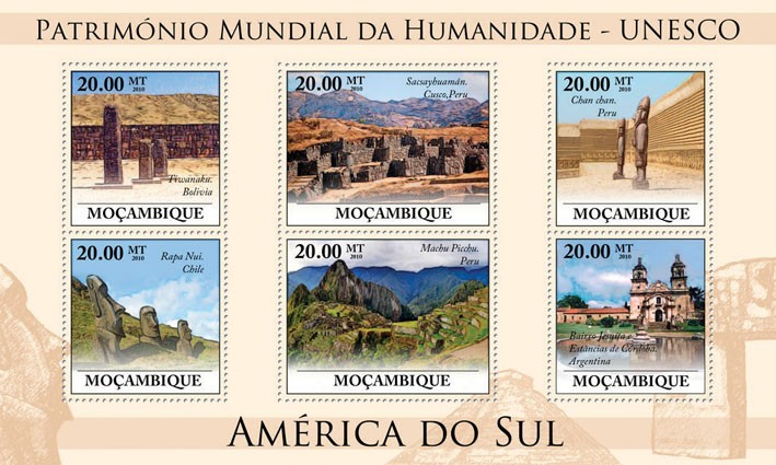 World Heritage Site - UNESCO South America II, (Tiwanaku, Bolivia - Issue of Mozambique postage Stamps