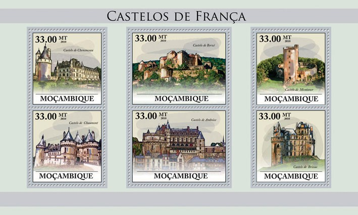 Castles of France, (Castle Chenonceau - Issue of Mozambique postage Stamps