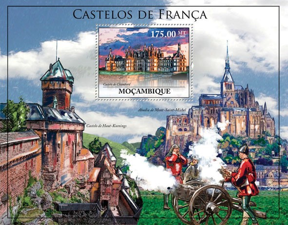 Castles of France, (Castle Chamboard). - Issue of Mozambique postage Stamps