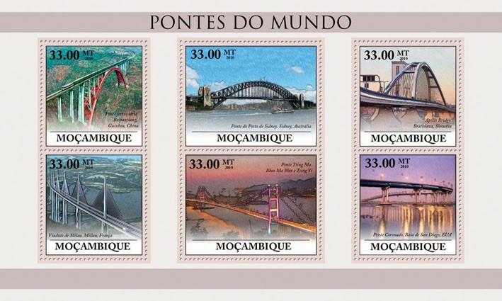 Bridges of the World, (Train Bridge Beipanjiang, China - Issue of Mozambique postage Stamps