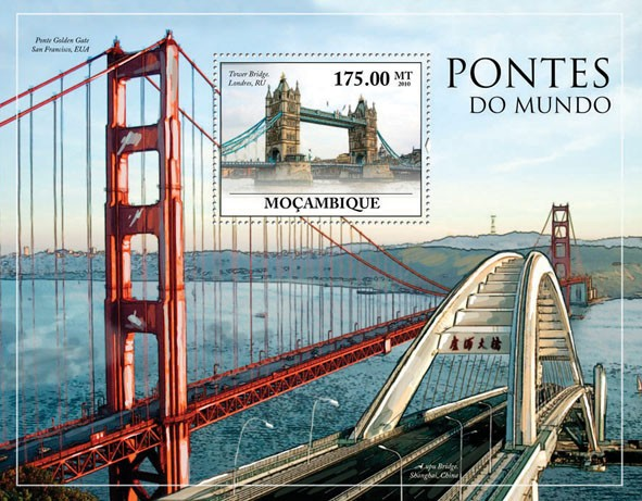 Bridges of the World, (Tower Bridge, London). - Issue of Mozambique postage Stamps