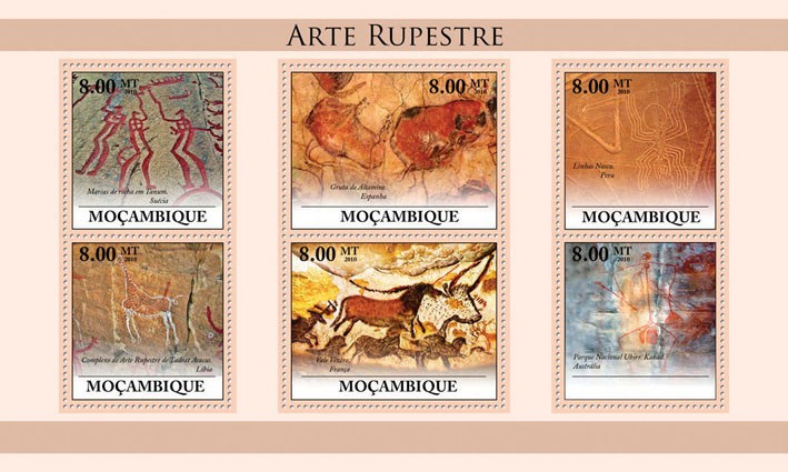 Rupestry Paintings. - Issue of Mozambique postage Stamps
