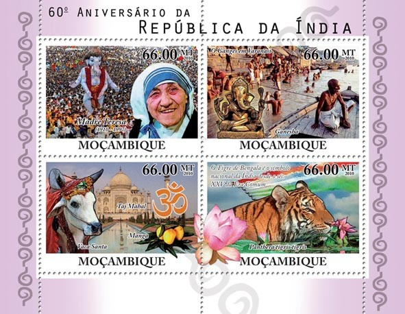 60th Anniversary Republic of India,  Mother Teresa ( 1910-1977 ), Gang, Taj Mahal, Tiger. - Issue of Mozambique postage Stamps