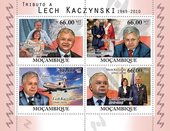 Tribute to Lech Kaczynski (1949-2010). - Issue of Mozambique postage Stamps