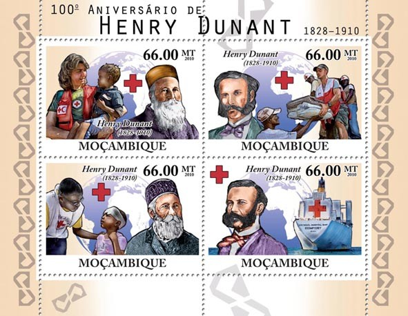 100th of Henri Dunant (Red Cross). - Issue of Mozambique postage Stamps