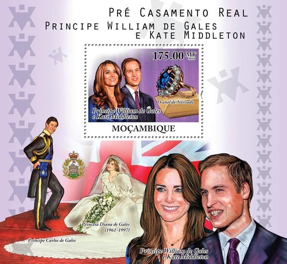 Royal Engagement,  Prince William of Wales and Kate Middleton. - Issue of Mozambique postage Stamps