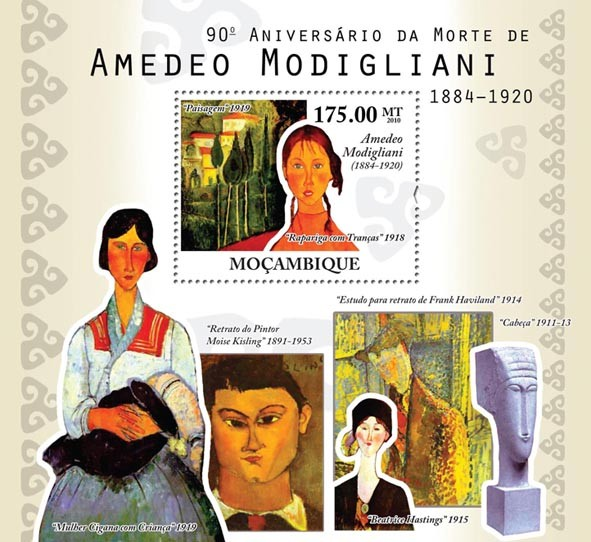 90th Death of Modigliani - Issue of Mozambique postage Stamps