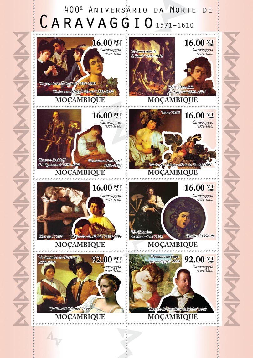400th Anniversary of Death of Caravaggio, (1571-1610), Paintings. - Issue of Mozambique postage Stamps
