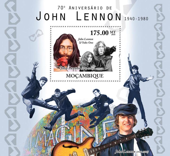70th Anniversary of John Lennon, (1940-1980). - Issue of Mozambique postage Stamps