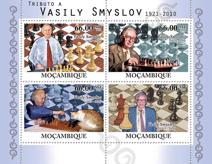Tribute to Vasily Smyslov, (1921-2010), Chess. - Issue of Mozambique postage Stamps