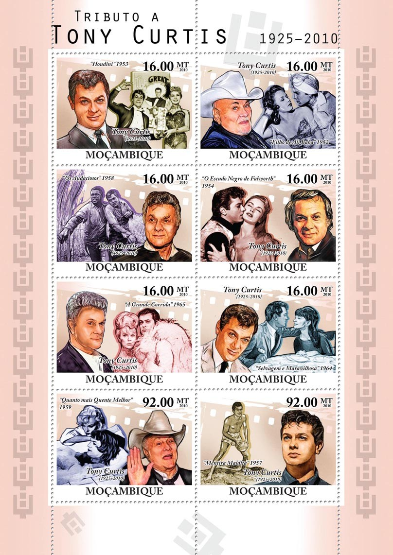 Tribute to Tony Curtis, (1925-2010), Cinema. - Issue of Mozambique postage Stamps