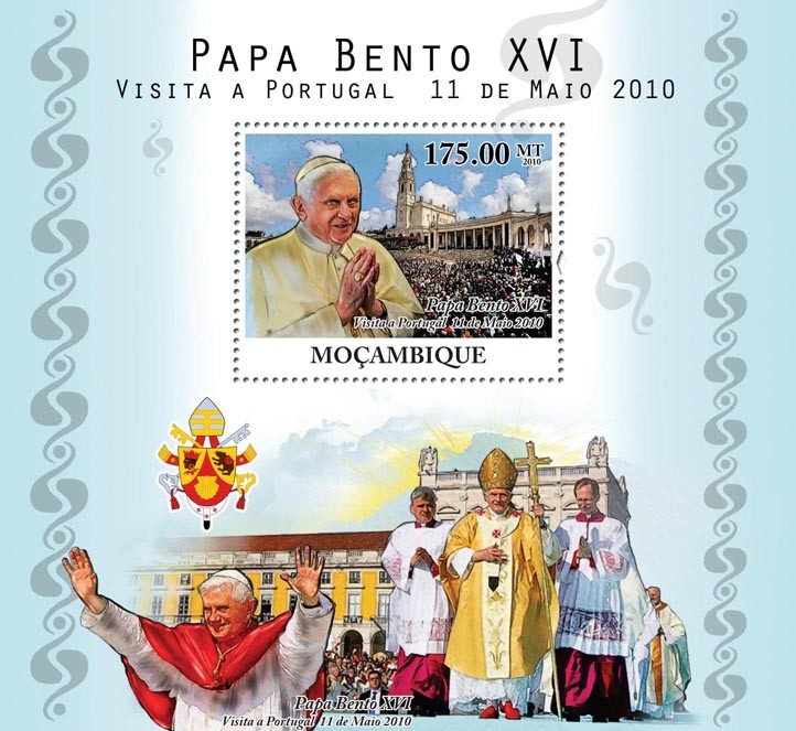 Pope Benedict XVI Visit Portugal, 11 May 2010. - Issue of Mozambique postage Stamps