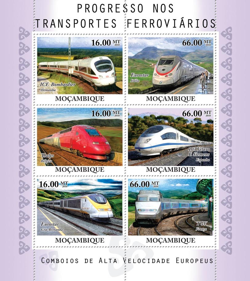European Speed Trains. - Issue of Mozambique postage Stamps