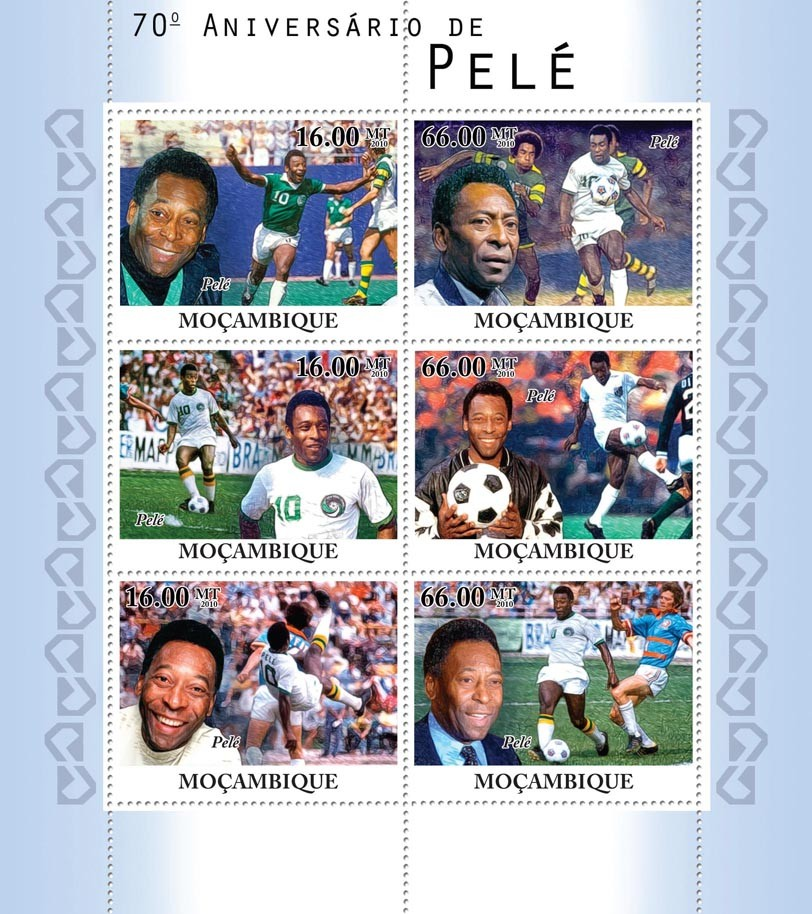 70th Anniversary of Pele, football. - Issue of Mozambique postage Stamps