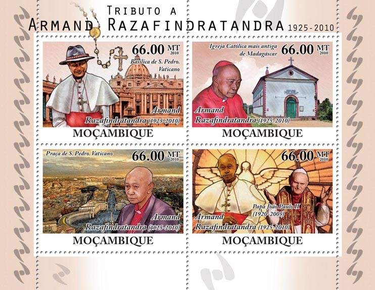 Tribute to Armand Razafindratandra, (1925-2010), Pope John Paul II. - Issue of Mozambique postage Stamps