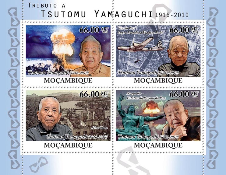 Tribute to Tsutomu Yamaguchi, (1916-2010). - Issue of Mozambique postage Stamps