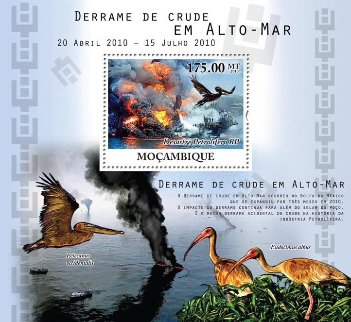 Crude Oil Spills at Sea, Birds & Ships. - Issue of Mozambique postage Stamps