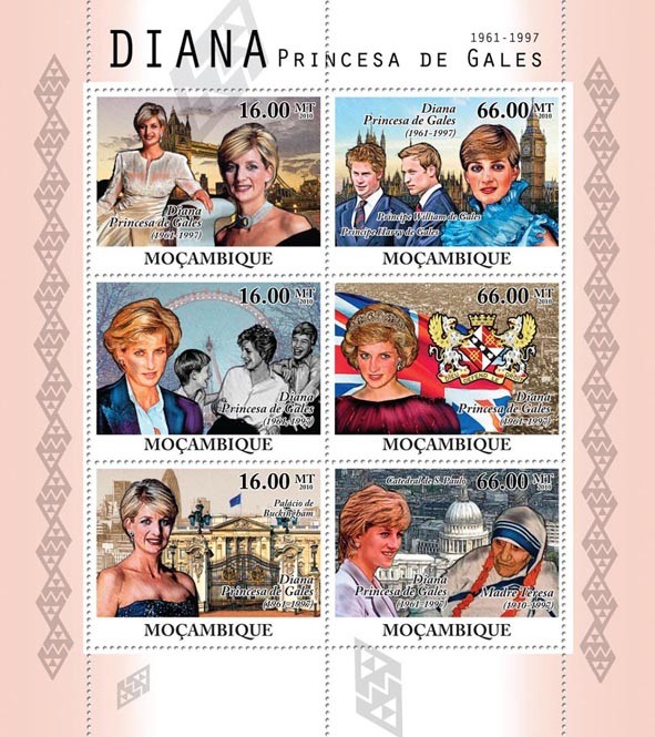 Diana Princess of Wales, (1861-1997). - Issue of Mozambique postage Stamps