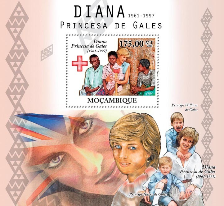 Diana Princess of Wales, (1861-1997), Red Cross. - Issue of Mozambique postage Stamps