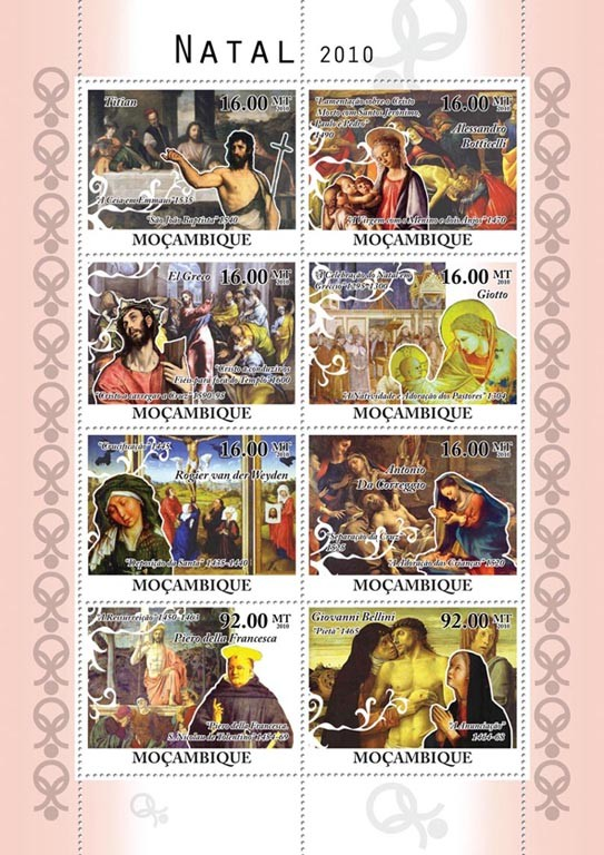 Christmas 2010, Religious Paintings. - Issue of Mozambique postage Stamps