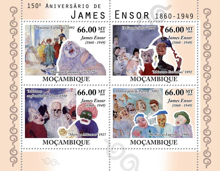 150th Anniversary of James Ensor (1860 -1949), Paintings. - Issue of Mozambique postage Stamps