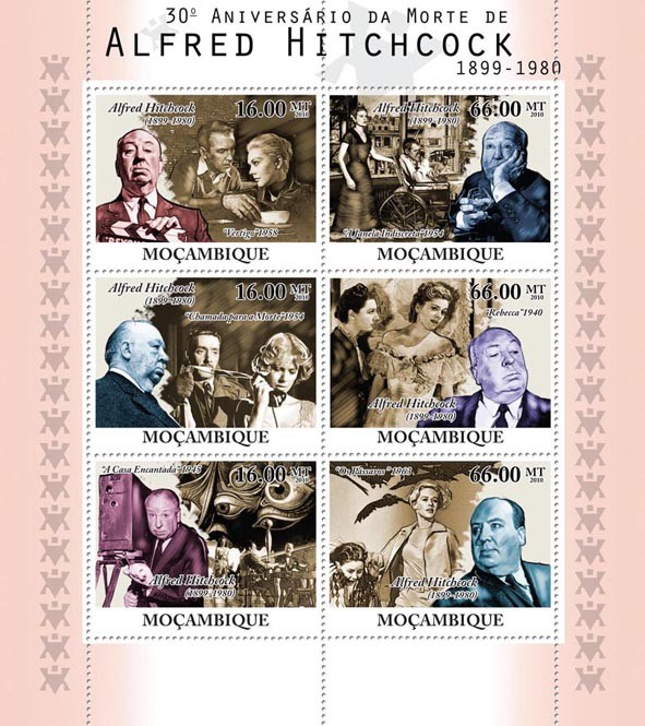30th Anniversary of Death of Alfred Hitchcock, (1899-1980), Cinema. - Issue of Mozambique postage Stamps