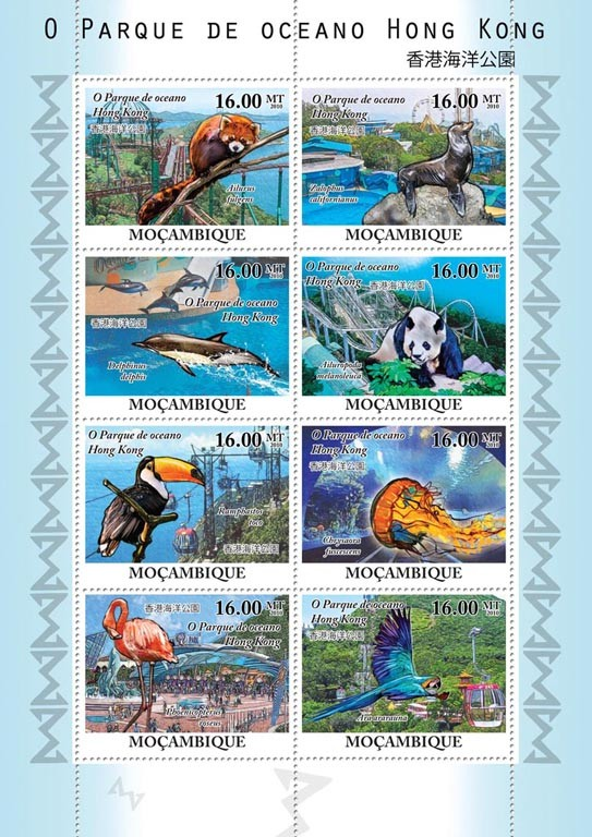 The Ocean Park of Hong Kong, Fauna. - Issue of Mozambique postage Stamps