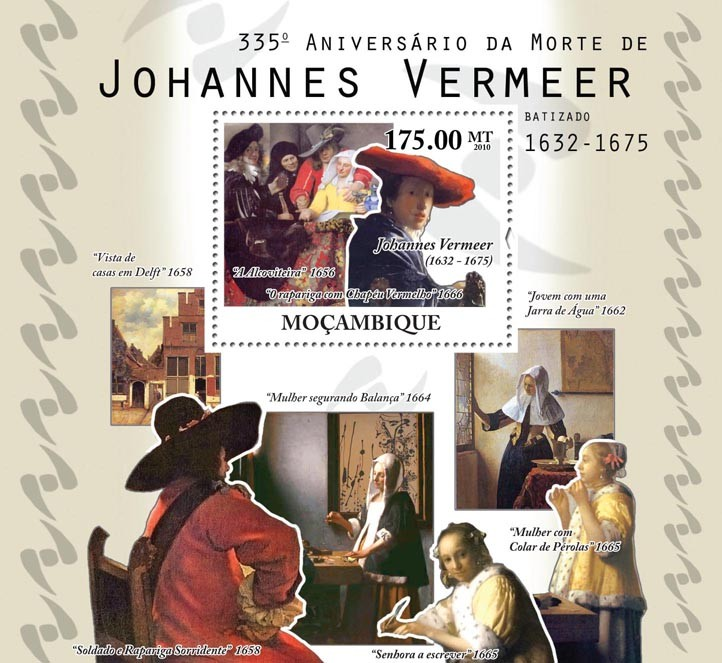 335th Anniversary of Death of Johannes Vermeer, (1632-1675), Paintings. - Issue of Mozambique postage Stamps
