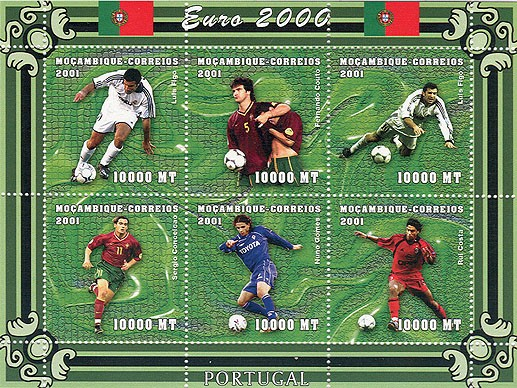 Football (L.Figo, F.Couto, S.Conceicao, N.Gomes, R.Costa)  6 x 10000 MT - Issue of Mozambique postage Stamps