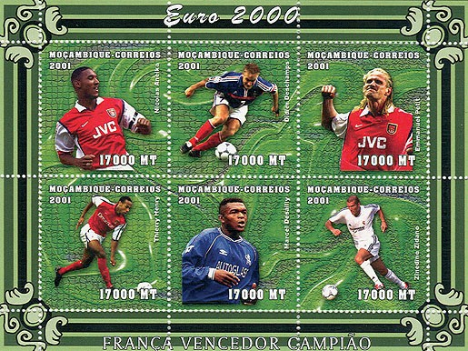 Football (N.Anelka, D.Deschamps, E.Petit, T.Henri, M.Dessailly, Z.Zidane)  6 x 17000 MT - Issue of Mozambique postage Stamps