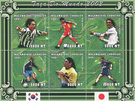 Football (F.Inzaghi, G.Hagi, G.Batistuta, M.Kezman, I.Zamorano, M.Owen) 6 x 5000 MT - Issue of Mozambique postage Stamps