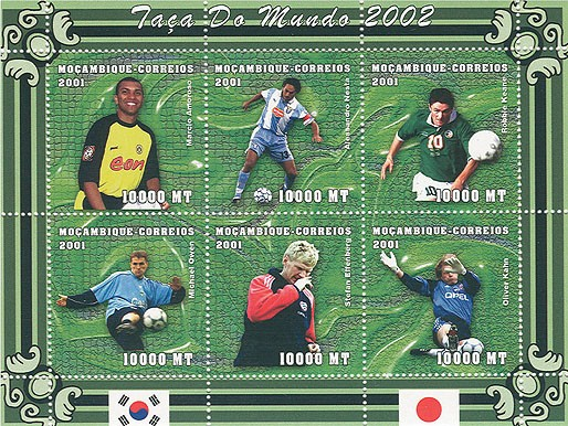 Football (M.Amoroso, A.Nesta, R.Keane, M.Owen, S.Effenberg, O.Kahn) 6 x 10000 MT - Issue of Mozambique postage Stamps