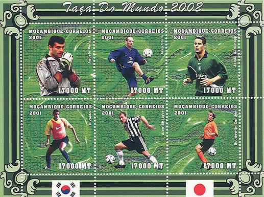 Football (A.Peruzzi, J.Stam, J.Redknapp, Rivaldo, A.Shearer, B.Zenden)  6 x 17000 MT - Issue of Mozambique postage Stamps