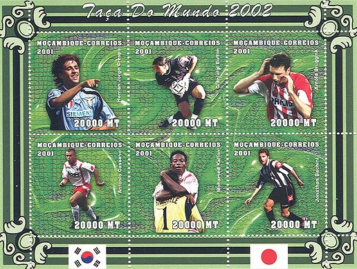 Football (H.J.Crespo, G.Buffon, A.Bruggink, A.Cassano, M.Kallon, J.Bachini)  6 x 20000 MT - Issue of Mozambique postage Stamps