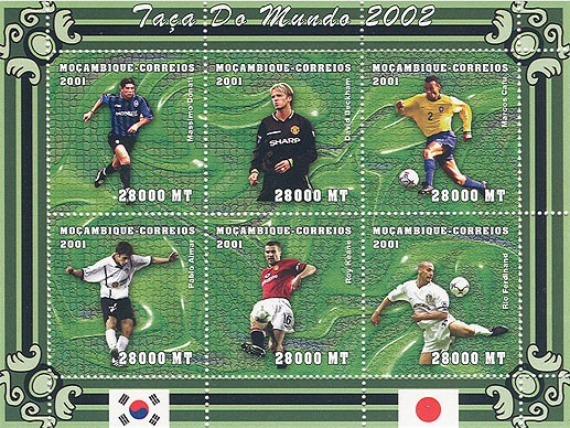Football (M.Donati, D.Beckham, M.Cafu, P.Aimar, R.Keane, R.Ferdinand)  6 x 28000 MT - Issue of Mozambique postage Stamps