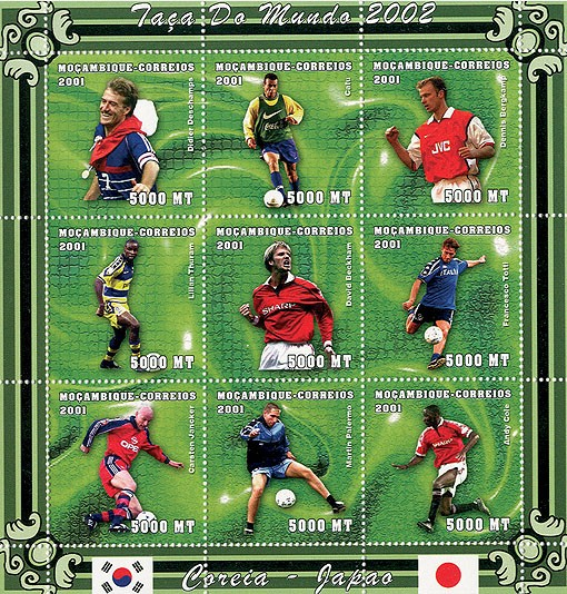 Football (D.Deschamps, Cafu, D.Bergkamp, L.Thuram, D.Beckham, F.Totti, C.Jancker, M.Palermo, A.Cole)     9 x 5000 MT - Issue of Mozambique postage Stamps
